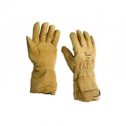 Gants 5 doigts en cuir de caprin pleine fleur hydrofuge beige