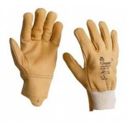 Gant 5 doigts, en cuir bovin pleine fleur hydrofuge beige 1549EPABEI