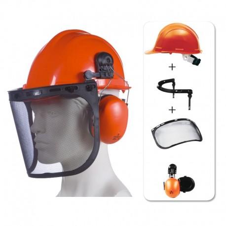Kit forestier (casque de chantier avec système anti bruit et visière grillagée) orange